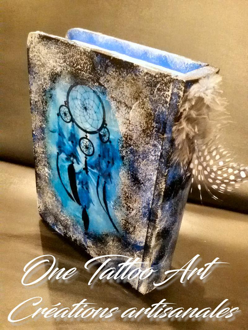 Grimoire boite-one tattoo art création-idée cadeaux- attrapes rêves