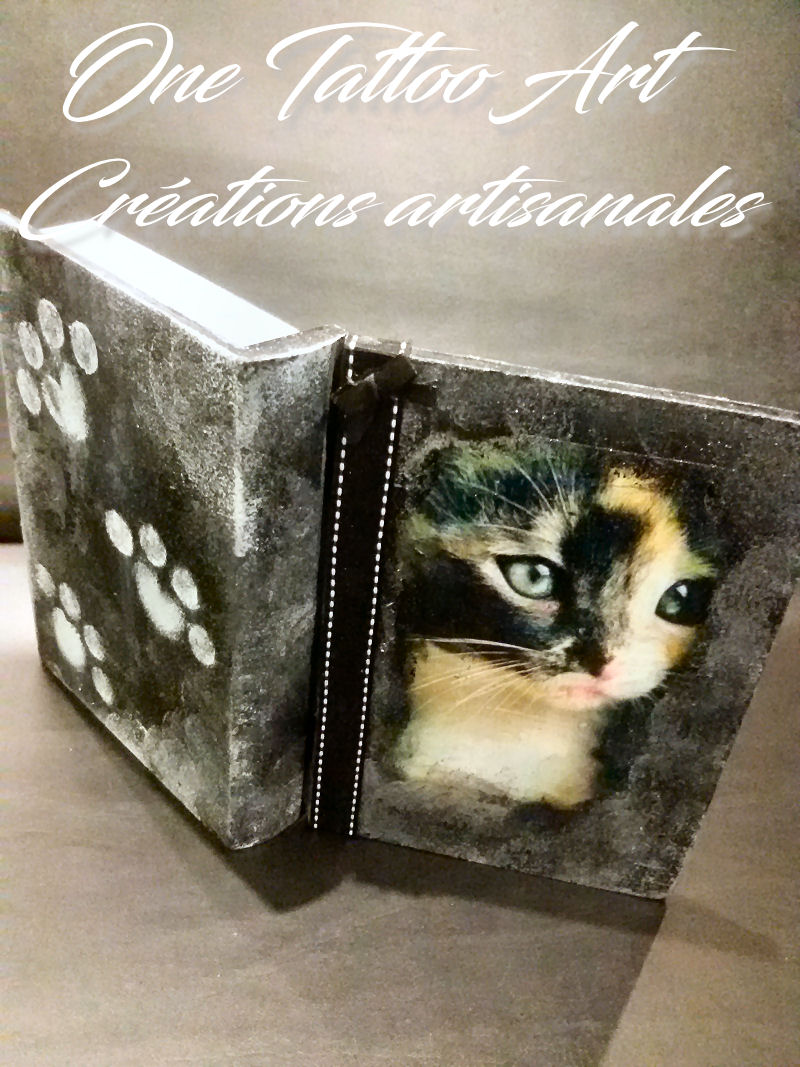 one tattoo art - idée cadeau - boite chat - grimoire chat