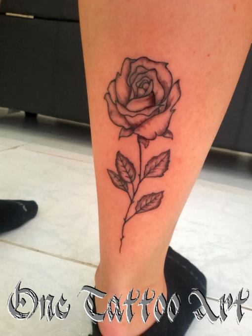 Rose one tattoo fine liner