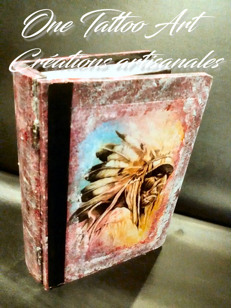 Grimoire boite - one tattoo création - indiens apache