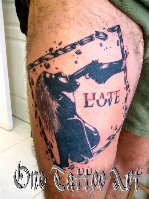Hate love - one tattoo art