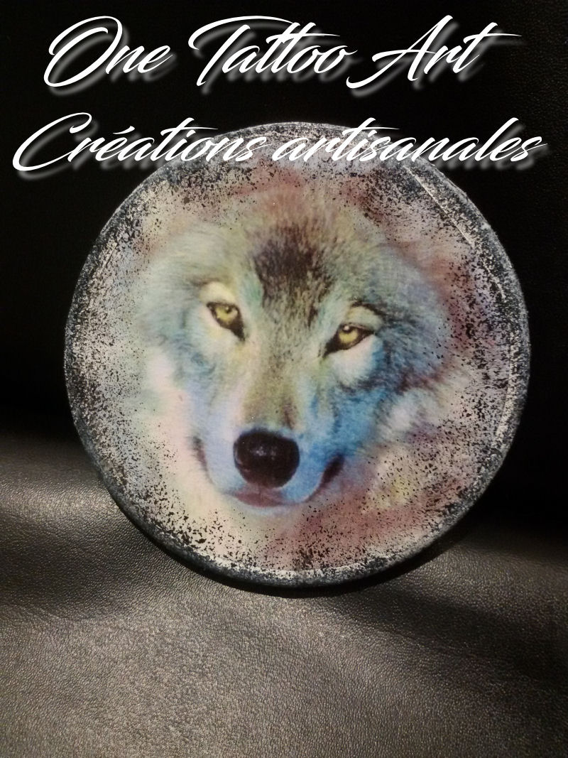 sous-verres-tete de loup- one tattoo art creation
